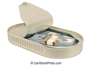 Tin can with dollar packs, 3D rendering
