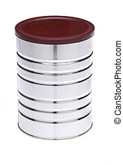 Tin Can With Lid - Tin Can with Brown Plastic Lid isolated...