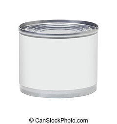 Tin can with no label isolated on white