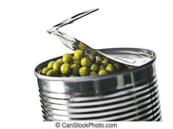 Tin can with peas - Partly open tin can with green peas.