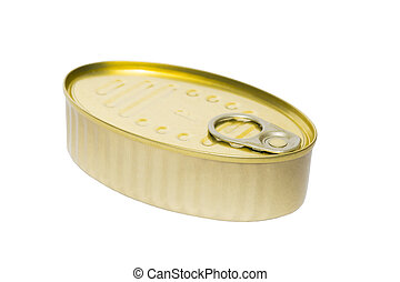 Tin can with seafood on a white background