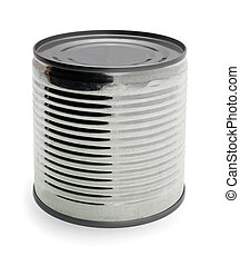 Tin can without  label isolated on white