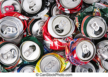 tin cans - background of aluminum cans crushed