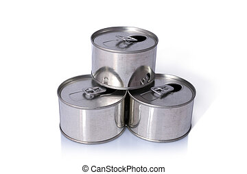 Tin Cans, Close-up various metal tin can with blank, Ring...