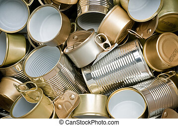 Tin cans ready for recycling - Various types of tin cans to ...