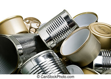 tin cans recycling - pile of tin cans waiting to be recycled
