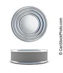 Tin cans top view and a front