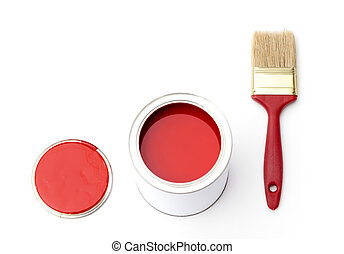 Tin, cover and paint brush