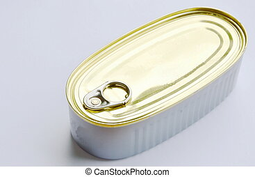 tin food canned with opener on white background