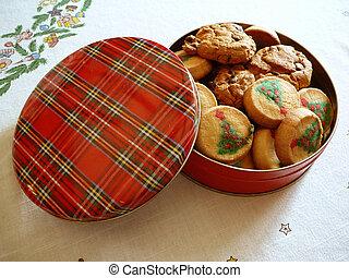 Tin of Christmas Cookies - Tin of Christmas cokies.