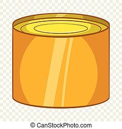 Tin packaging icon, cartoon style