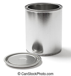 Tin Paint Can on White with a Clipping Path