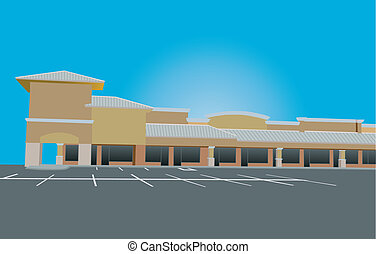 tin roof strip mall - beige toned retail strip mall with tin...