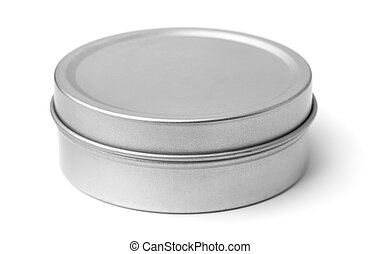 Tin round box isolated on white