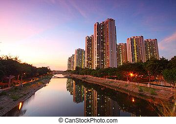 Tin Shui Wai district, Hong Kong. - Tin Shui Wai district at...