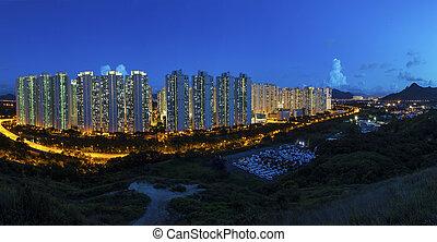 Tin Shui Wai district in Hong Kong at night