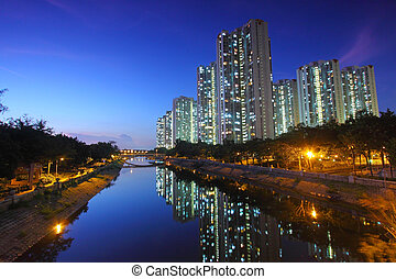 Tin Shui Wai downtown at night in Hong Kong