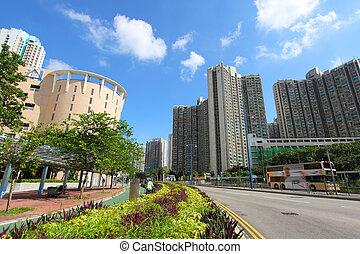 Tin Shui Wai downtown in Hong Kong at day