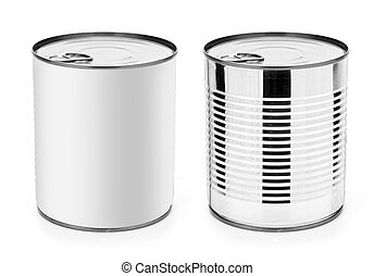 tin - Tin can with ring pull: side, top view. Packaging...