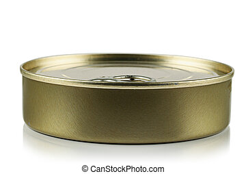 Tin with canned food on a white background.