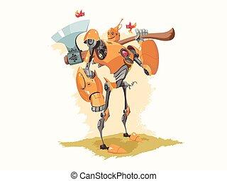 Tin Woodman Robot Vector Illustration - Vector illustration...
