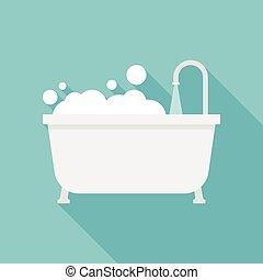 tina, baño, icono
