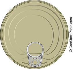 Lid of the can with a device for opening. Vector illustration.