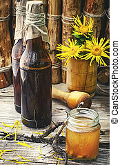 Tincture of elecampane - Medicinal folk remedy tincture from...