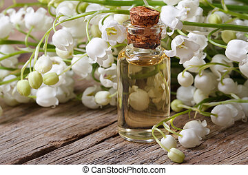 tincture of flowers fragrant lilies of the valley. macro