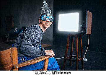 tinfoil, capacete, ufo, óculos, hypnotizing, homem