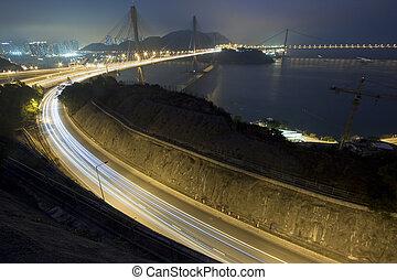 Ting Kau Bridge and highway at night in Hong Kong