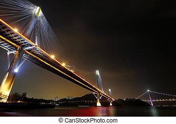 Ting Kau Bridge and Tsing ma Bridge at night, in Hong Kong