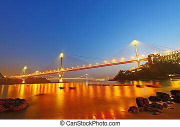 Ting Kau Bridge at night in Hong Kong