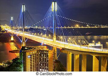 Ting Kau bridge at night