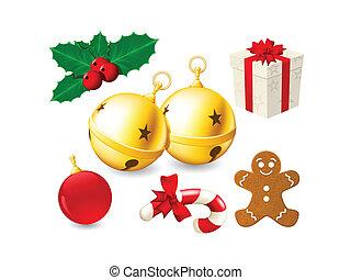 tinido, decoração, sinos natal