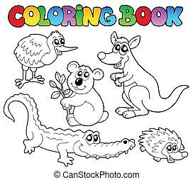 tinja livro, australiano, animais, 1