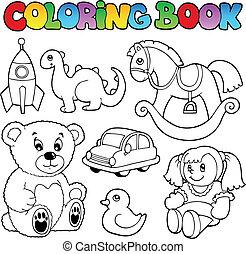 tinja livro, brinquedos, tema, 1