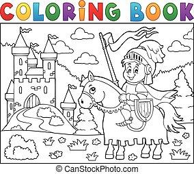 tinja livro, cavaleiro, ligado, cavalo, por, castelo