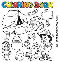 tinja livro, com, acampamento, imagens
