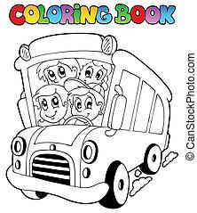 tinja livro, com, autocarro, e, crianças