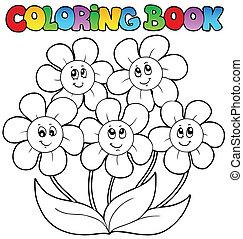 tinja livro, com, cinco, flores