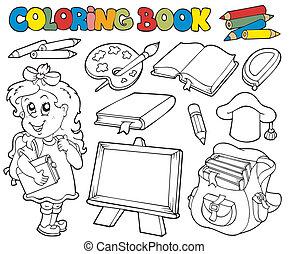 tinja livro, com, escola, tema, 1