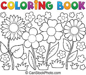 tinja livro, com, flor, tema, 2