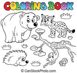 tinja livro, com, floresta, animais, 3