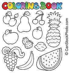 tinja livro, com, frutas, imagens