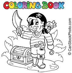 tinja livro, com, jovem, pirata