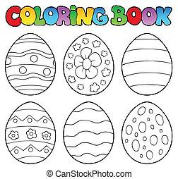 tinja livro, com, ovos páscoa