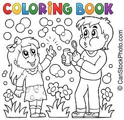 tinja livro, crianças, com, bolha, equipamento