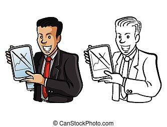 tinja livro, homem negócios, personagem