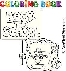 tinja livro, sinal, schoolbag